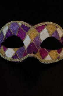 loup vénitien, masque vénitien, loup vénitien fait à la main, masque vénitien haute qualité, masque pour carnaval de venise, loup vénitien arlequin, Vénitien Arlecchino Paillettes, Violet et Parme