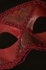 loup vénitien, masque vénitien, loup vénitien fait à la main, masque vénitien haute qualité, masque pour carnaval de venise Vénitien Arlecchino Passementerie, Rouge