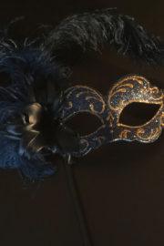loup vénitien, masque vénitien, loup vénitien fait à la main, masque vénitien haute qualité, masque pour carnaval de venise, loup vénitien sur bâton, masque vénitien sur bâton Vénitien Signorina Baby, sur Bâton, Bouquet Bleu Nuit