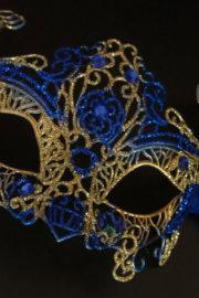 loup vénitien, masque vénitien, loup vénitien fait à la main, masque vénitien haute qualité, masque pour carnaval de venise Vénitien Filo, Bleu et Or