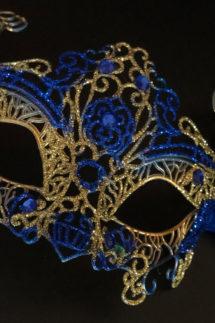 loup vénitien, masque vénitien, loup vénitien fait à la main, masque vénitien haute qualité, masque pour carnaval de venise, Vénitien Filo, Bleu et Or