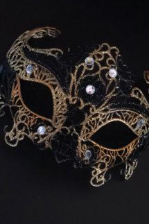 loup vénitien, masque vénitien, loup vénitien fait à la main, masque vénitien haute qualité, masque pour carnaval de venise, Vénitien Filo, Noir et Or