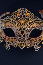 loup vénitien, masque vénitien, loup vénitien fait à la main, masque vénitien haute qualité, masque pour carnaval de venise Vénitien Filo, Orange, Argent et Or