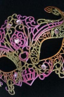 loup vénitien, masque vénitien, loup vénitien fait à la main, masque vénitien haute qualité, masque pour carnaval de venise, Vénitien Filo, Rose et Or