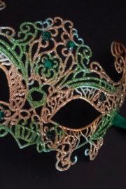 loup vénitien, masque vénitien, loup vénitien fait à la main, masque vénitien haute qualité, masque pour carnaval de venise Vénitien Filo, Vert et Or