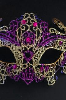 loup vénitien, masque vénitien, loup vénitien fait à la main, masque vénitien haute qualité, masque pour carnaval de venise, Vénitien Filo, Violet et Or