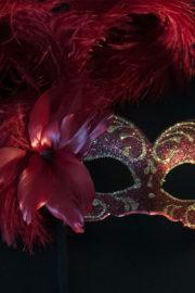loup vénitien, masque vénitien, loup vénitien fait à la main, masque vénitien haute qualité, masque pour carnaval de venise, loup vénitien sur bâton, masque vénitien sur bâton Vénitien Signorina Baby, sur Bâton, Bouquet Rouge