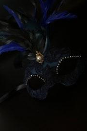 loup vénitien, masque vénitien, loup vénitien fait à la main, masque vénitien haute qualité, masque pour carnaval de venise Vénitien Scala Plumes, Bleu Nuit