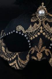loup vénitien, masque vénitien, loup vénitien fait à la main, masque vénitien haute qualité, masque pour carnaval de venise Vénitien Scala Plumes, Noir et Or