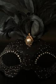 loup vénitien, masque vénitien, loup vénitien fait à la main, masque vénitien haute qualité, masque pour carnaval de venise Vénitien Scala Plumes, Noir et Brillants
