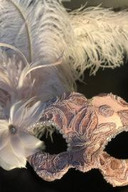 loup vénitien, masque vénitien, loup vénitien fait à la main, masque vénitien haute qualité, masque pour carnaval de venise Vénitien Tosca, Rose Poudré