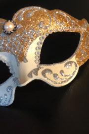 loup vénitien, masque vénitien, loup vénitien fait à la main, masque vénitien haute qualité, masque pour carnaval de venise Vénitien Violetta, Blanc, Or et Argent
