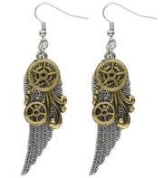 boucles d'oreilles steampunk, bijoux steampunk, accessoire steampunk Boucles d'Oreilles Steampunk, Ailes et Rouages