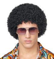 perruque disco, perruque afro noire, perruque disco homme, perruque afro accessoire disco Perruque Afro Courte Disco, Années 70, Noire