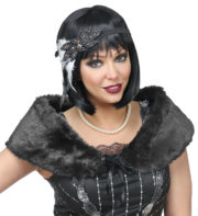 étole années 30, accessoire années 30, bandeau à plumes, bandeau années 30, accessoires années 20 Etole Années 30 avec Bandeau à Plumes, Noire