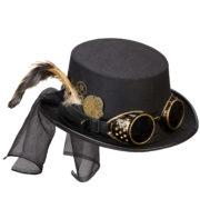 chapeau steampunk, accessoire steampunk, chapeau haut de forme, lunettes steampunk Chapeau Steampunk Luxe, Lunettes Amovibles