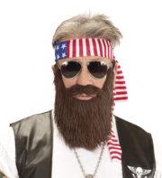 kit easy rider, barbe et bandeau de biker, barbe de biker, barbe easy rider Barbe de Biker avec Bandeau, Kit Easy Rider
