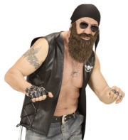barbe et foulard de biker, kit accessoire biker, barbe de biker, barbe châtain Barbe de Biker avec Foulard Noir