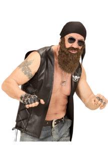 barbe et foulard de biker, kit accessoire biker, barbe de biker, barbe châtain, Barbe de Biker avec Foulard Noir