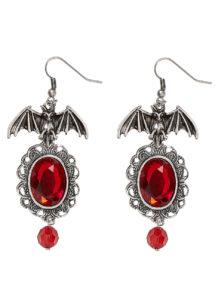 boucles d'oreilles gothiques, bijoux halloween, boucles d'oreilles chauve souris, Boucles d'Oreilles Gothiques avec Pierres Rouges