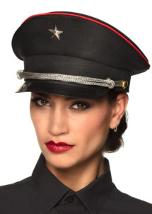 casquette militaire, casquette militaire déguisement, casquette colonel, casquette déguisement, casquette armée, casquette de militaire, Casquette Militaire Noire, avec Etoile et Galons Argent