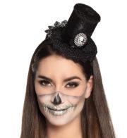 mini chapeau halloween, chapeau de vampire, chapeau haut de forme sur serre tête, chapeau haut de forme féminin Mini Chapeau Dentelle Halloween, avec Camé