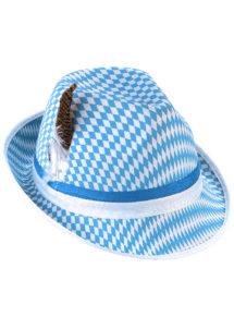 chapeau bavarois, chapeau oktoberfest, chapeau fête de la bière, chapeau bavarois, Chapeau de Bavarois Bleu et Blanc, avec Plume