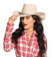chapeau de cowboy, chapeau cow boy, accessoire cowboy, soirée à thème cowboy, soirée à thème western, chapeaux de cowboys Chapeau de Cowboy North Dakota, Blanc Cassé