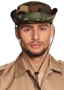 chapeau militaire, chapeau militaire camouflage, accessoire déguisement militaire, chapeau tissu camouflage, Chapeau Militaire Camouflage