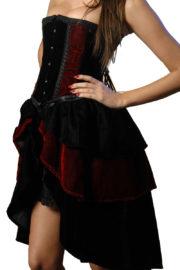 déguisement corset, déguisement vampire femme, déguisement diable femme, déguisement cabaret femme, déguisement années 30 femme, déguisement halloween femme Déguisement Corset Velours Noir et Rouge Sombre