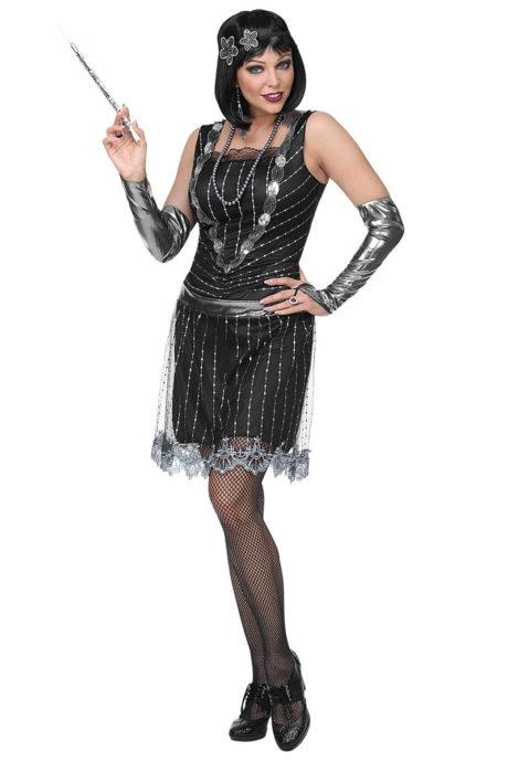 déguisement charleston, robe charleston, déguisement années 20, déguisement années 30, robe cabaret femme Déguisement Charleston Flapper, Robe Noire et Argent