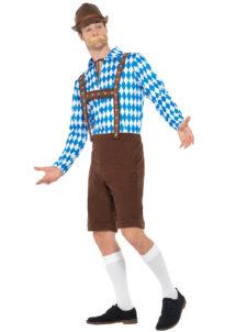 déguisement bavarois, déguisement oktoberfest, déguisement fête de la bière, salopette oktoberfest, Déguisement Bavarois Oktoberfest, Marron et Losanges