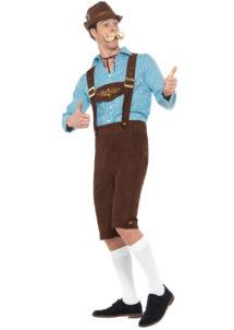 déguisement bavarois, déguisement oktoberfest, déguisement fête de la bière, salopette oktoberfest, Déguisement Bavarois Oktoberfest, Bleu et Marron