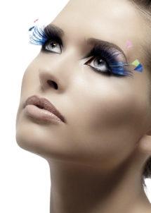 faux cils bleus, faux cils plumes, faux cils originaux, faux cils carnaval, faux cils extra longs, Faux Cils Extra Longs, Bleus, avec Plumes