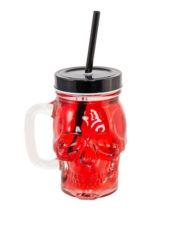 mason jar halloween, mason jar tête de mort, verre halloween, vaisselle halloween, Mason Jar Tête de Mort avec Paille