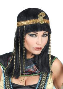 perruque cléopatre, perruque égyptienne, perruque de cléopatre, accessoire déguisement cleopatre, perruque eygpte, Perruque Cléopatre, Impératrice Egyptienne, Noire