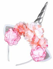 serre tête de licorne, corne de licorne, serre tête licorne et fleurs, serre tête licorne pivoines, Corne de Licorne Argent et Pivoines Roses