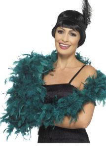 boa vert, boa plumes vertes, boa qualité, accessoire années 20, accessoires années 30, accessoire charleston, Boa en Plumes Luxe, 80 gr, Vert Canard