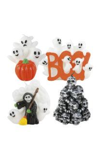 bougie halloween, décorations halloween, Bougie Halloween, Fantômes et Crânes