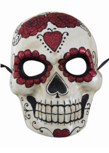 masque jour des morts, masque papier mâché, masque day of death, Masque Jour des Morts, Paillettes Rouges