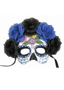 masque jour des morts, masque mort mexicaine, masque halloween, Loup Jour des Morts, Squelette Mexicain, Bleu