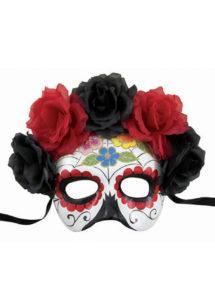 masque jour des morts, masque mort mexicaine, masque halloween, Loup Jour des Morts, Squelette Mexicain, Rouge