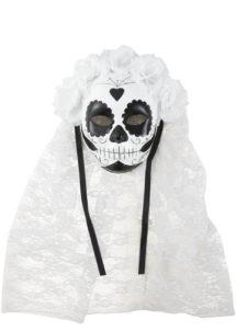 masque jour des morts, masque mort mexicaine, masque halloween, Masque Jour des Morts, Noir et Blanc avec Voile
