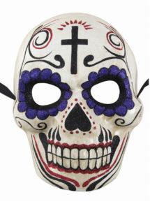 masque jour des morts, masque papier mâché, masque day of death, Masque Jour des Morts, Paillettes Violettes