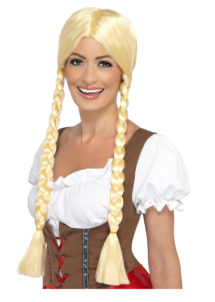perruque bavaroise, perruque blonde, perruque nattes blondes, perruque tresses blondes, perruque oktoberfest, perruque fête de la bière, Perruque Beauté Bavaroise, Blonde