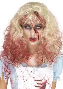 perruque halloween, perruque blonde, perruque halloween femme, perruque de zombie, Perruque Blonde Faux Sang