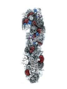 faux tatouage, tatouage éphémère, tatouage temporaire, tatouage manchette, tatouage bras, tatouage halloween, Tatouage Temporaire Manchette, Skull and Flowers