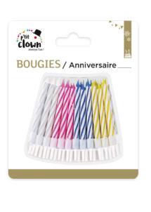 bougies d'anniversaire, bougies anniversaire, bougies multicolore anniversaire, 12 Bougies d'Anniversaire, 4 Couleurs