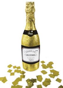 cotillons bouteille champagne, confettis bouteille champagne, canon à confettis champagne, canon à confettis cotillons réveillons, serpentins réveillon, bouteille champagne cotillons, Bouteille de Champagne, Canon à Confettis, Or