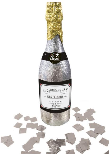 cotillons bouteille champagne, confettis bouteille champagne, canon à confettis champagne, canon à confettis cotillons réveillons, serpentins réveillon, bouteille champagne cotillons, Bouteille de Champagne, Canon à Confettis, Argent
